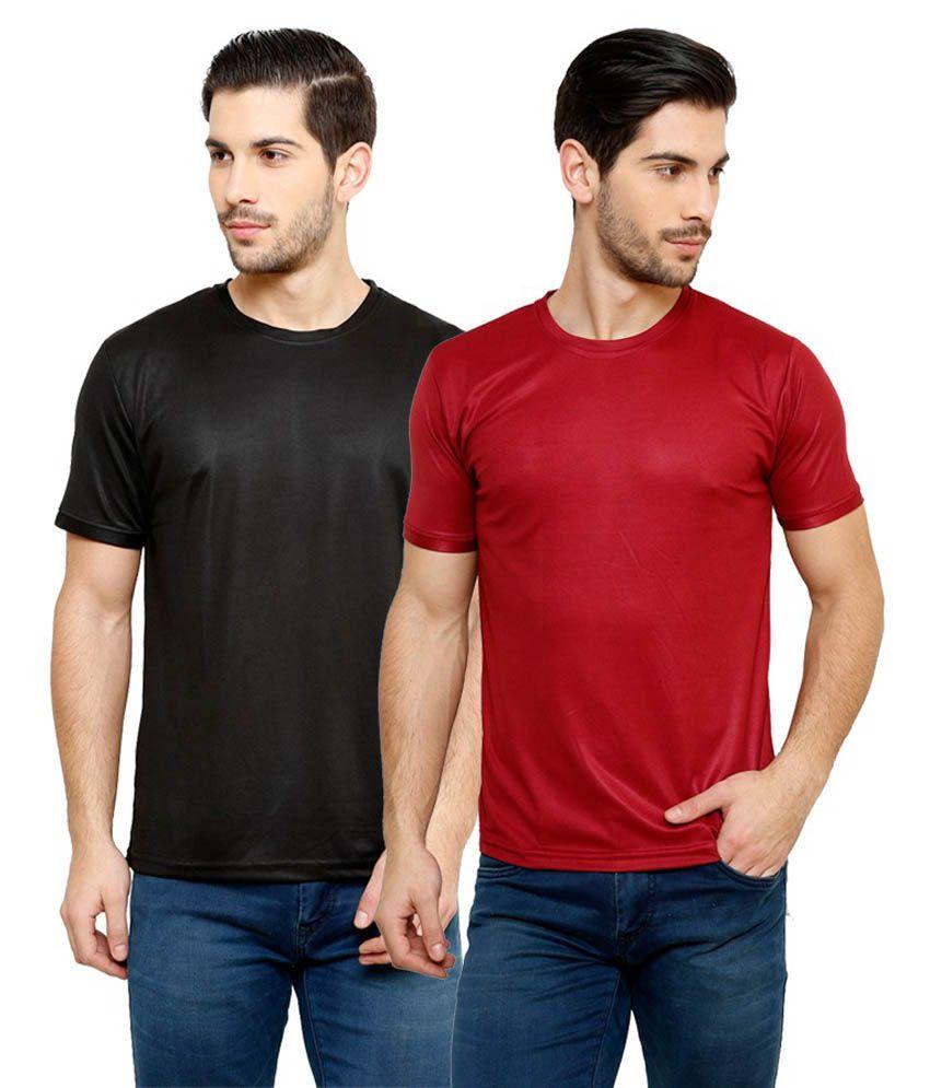 Grand Bear Dry-Fit Fitness T-Shirt Combo - Black, Maroon