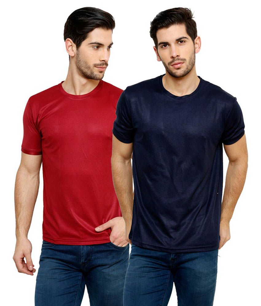 Grand Bear Dry-Fit Fitness T-Shirt Combo - Maroon, Navy Blue