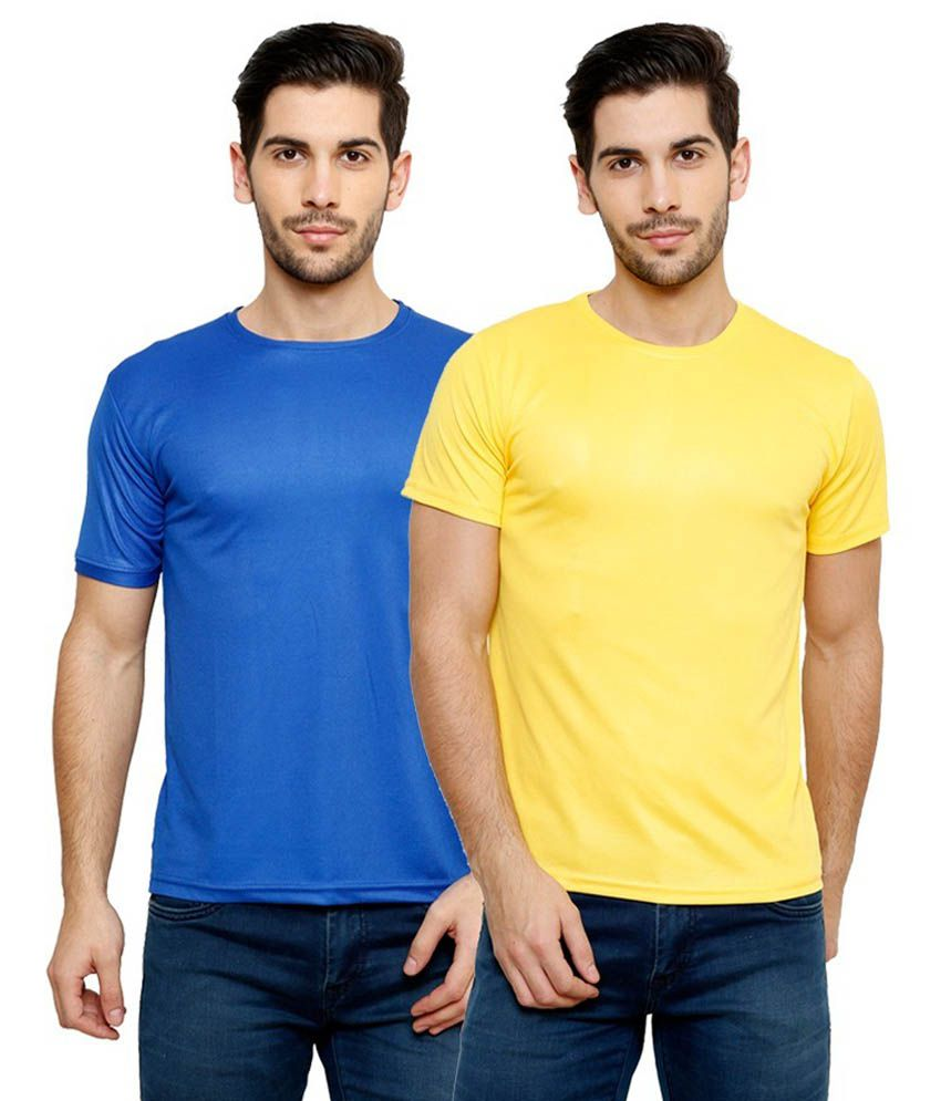 Grand Bear Dry-Fit Fitness T-Shirt Combo - Blue, Yellow