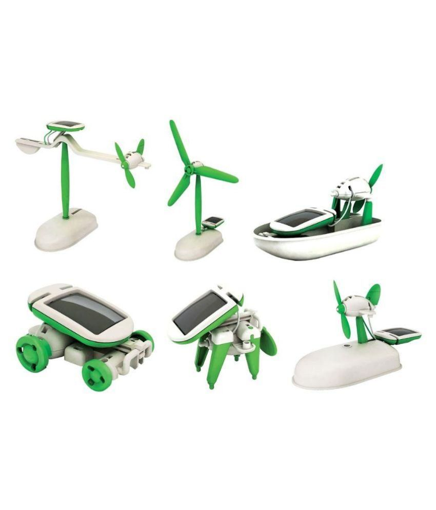 Jm 6 In 1 Solar Kit Toy Green White Best Price India Bullet Train Educational Diy Little Grin Robot