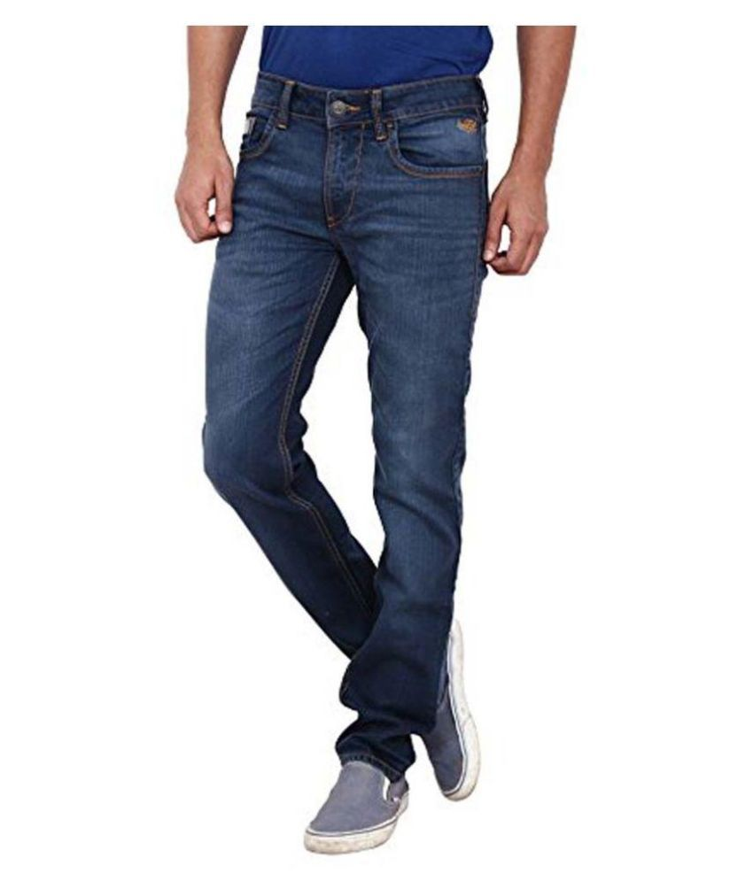 Flying Machine Blue Regular Fit Faded Jeans