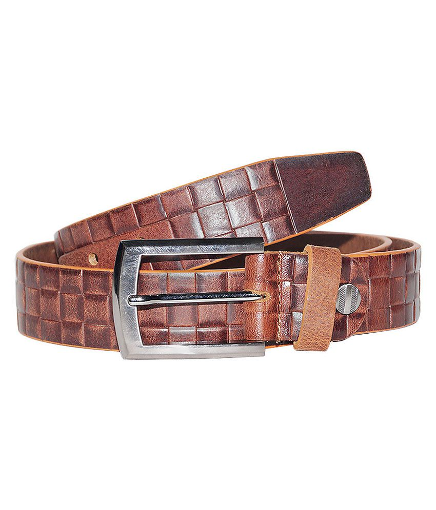 Hadwin Brown Leather Pin Buckle Single Belt for Men