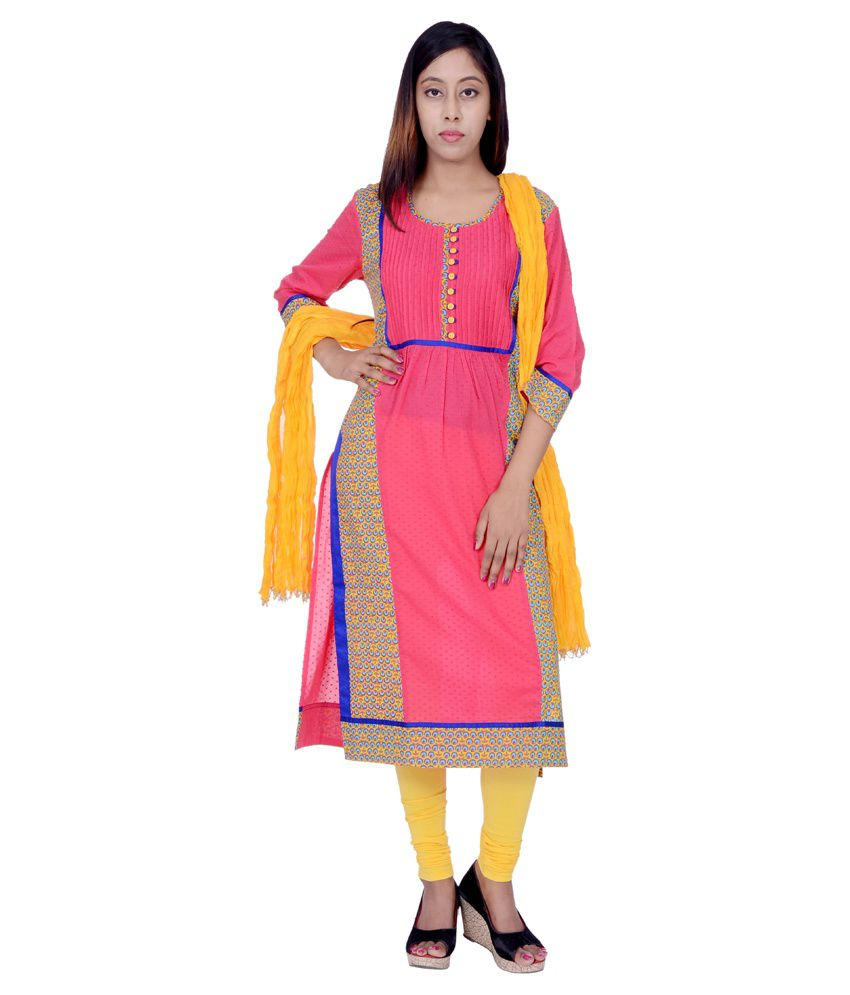 Rama Pink Cotton Straight Fit Stitched Salwar Suit