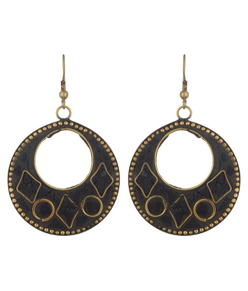 AVC Brass Studded Black Coloured Earrings