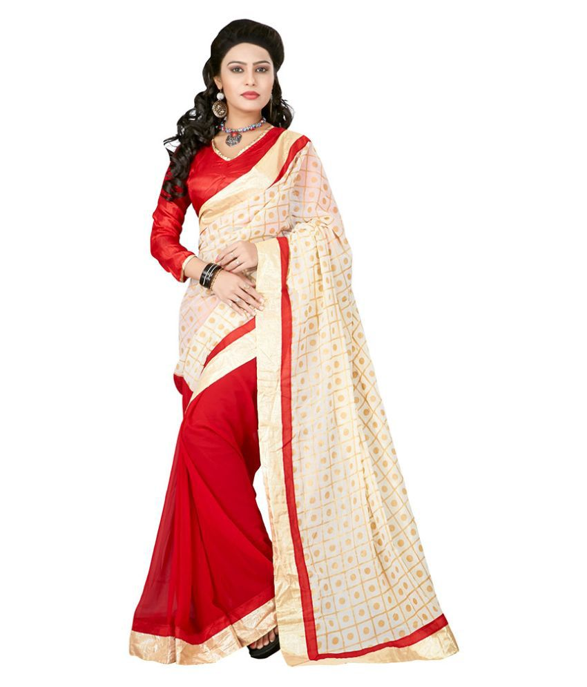 Apple Creation Beige Georgette Saree