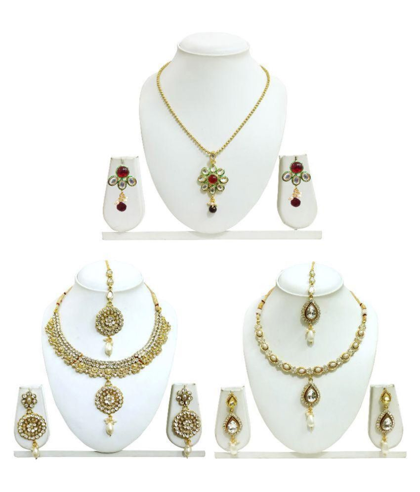 Arts Chetan Zinc Beads Studded Gold Coloured Necklace Set - Pack of 3