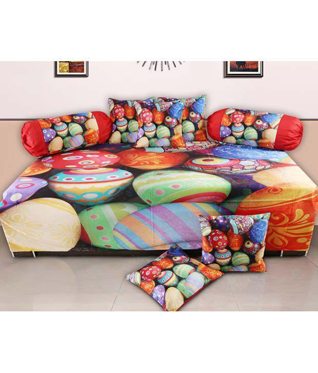 Dekor World Multicolour Printed Polyester Diwan Set
