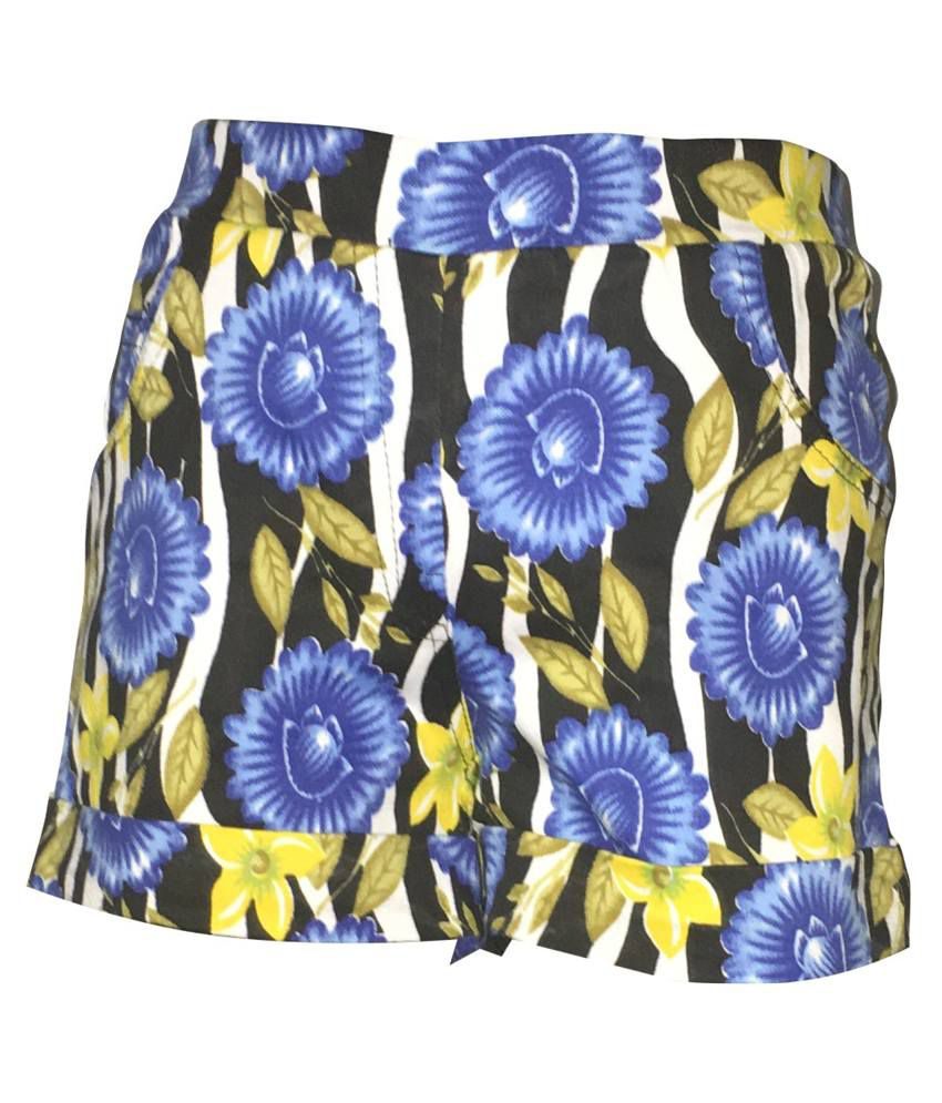 Ever Wear Multicolour Cotton Spandex Shorts for Girls