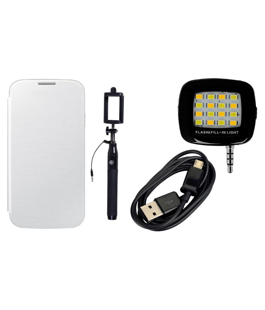 Gionee Elfie E6 Flip Cover by MuditMobi - White with Selfie Flash Light, Selfie Stick and Data Cable