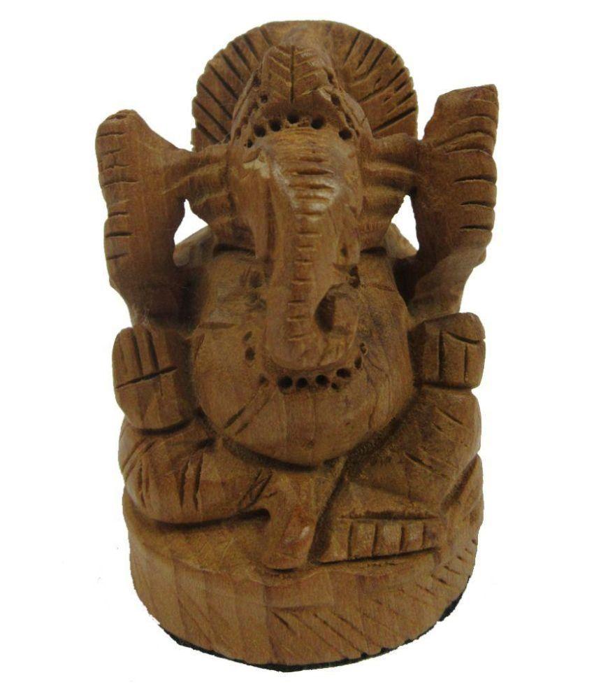 Indian Arts Museum Brown Wooden Ganesha