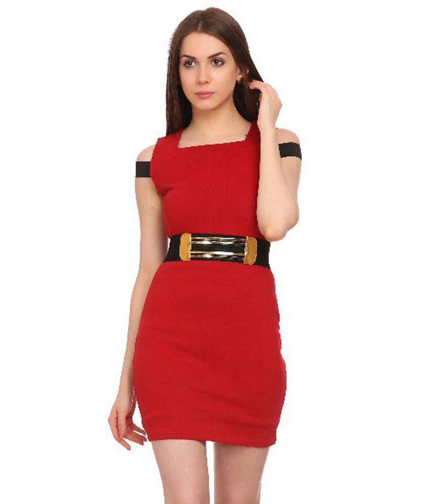 Lyonara Red Cotton Dresses