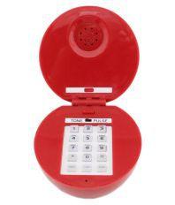 Tootpado Apple Shape Wired Landline with Led Eyes (Red) Corded Landline Phone Red