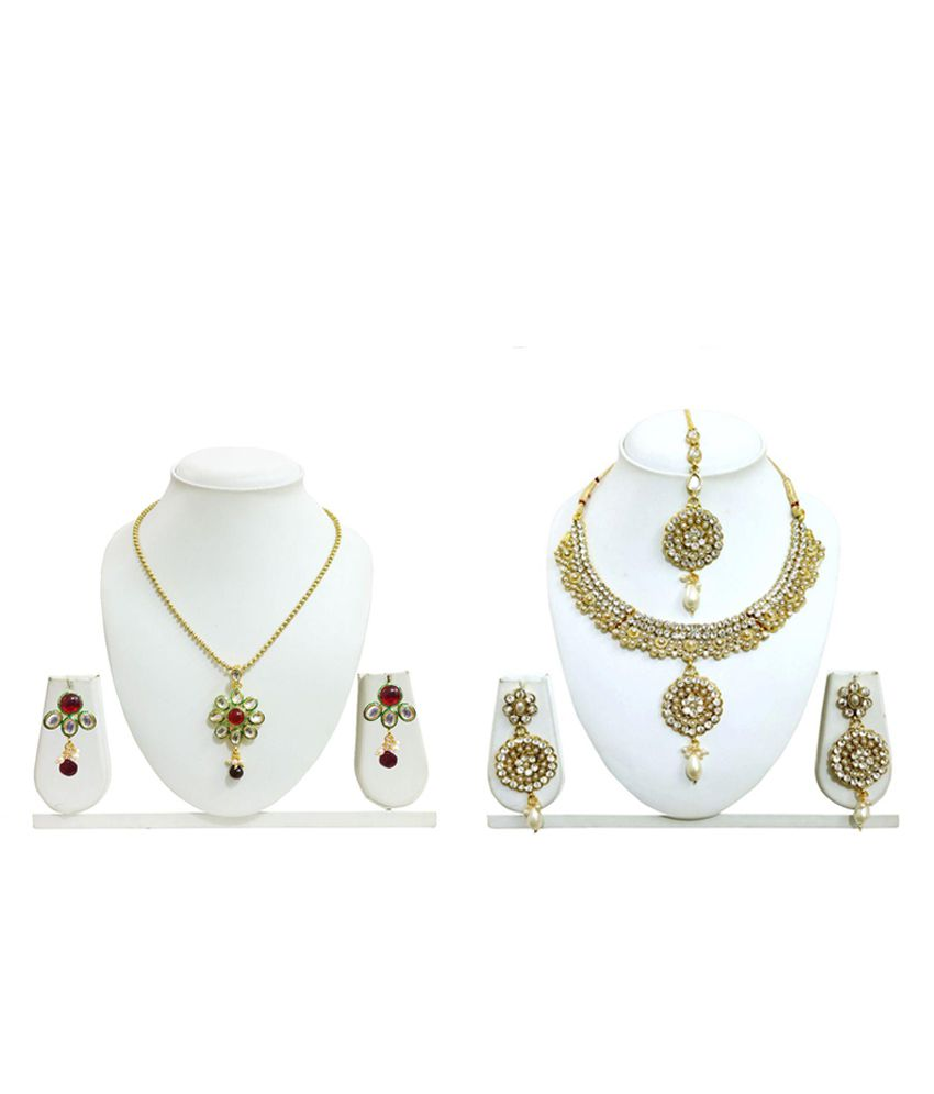 Arts Chetan Zinc Yellow Gold Pearls Studded Gold Coloured Necklace set Combo