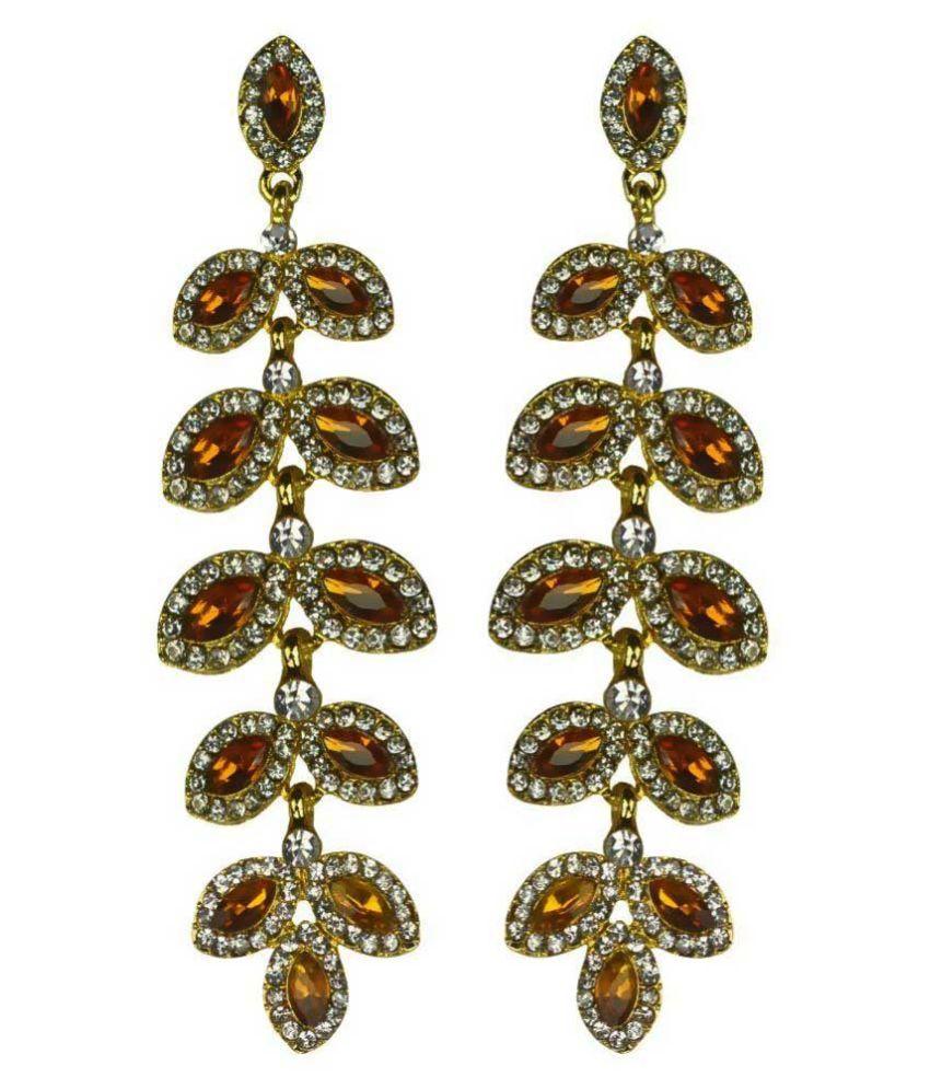 Glitters Online Alloy American Diamonds Gold Coloured Earrings