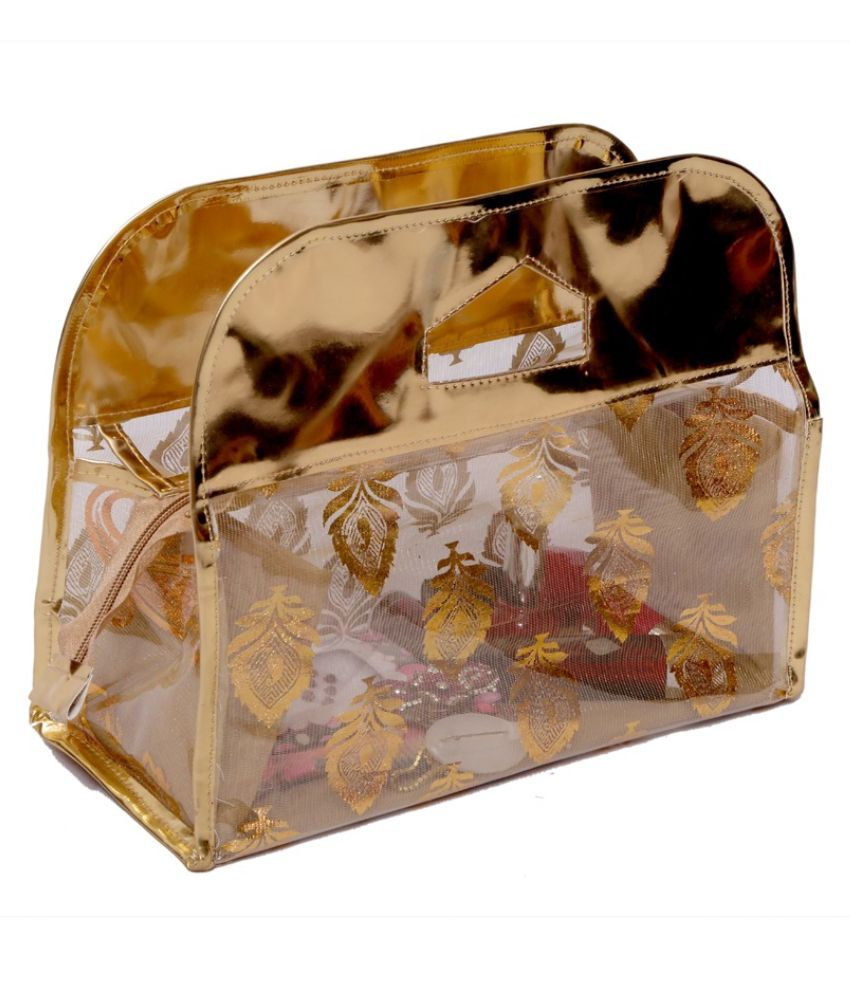Kuber Industries Fabric Studded Gold Coloured Jewellery Box