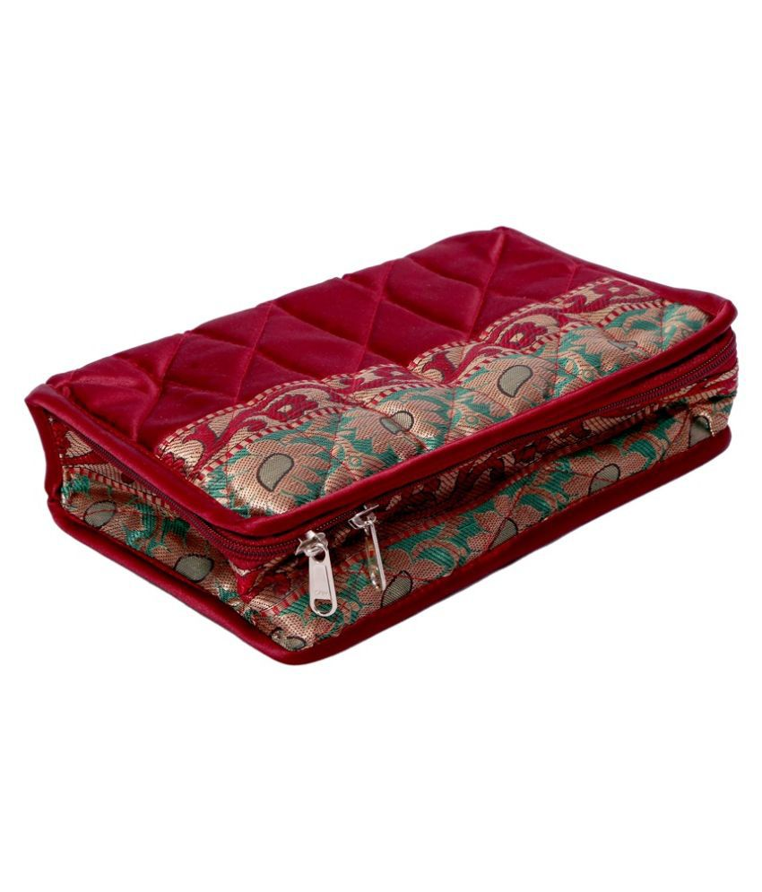 Kuber Industries Maroon Fabric Multipurpose Jewellery Box
