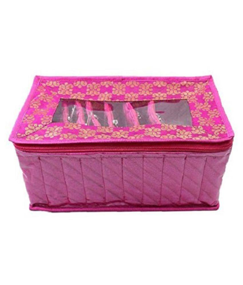 Kuber Industries Pink Fabric Multipurpose Jewellery Box