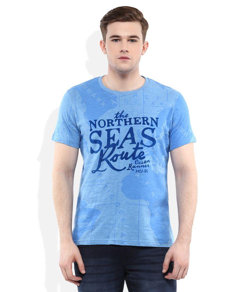 Monte Carlo Blue Round Neck Printed T-Shirt