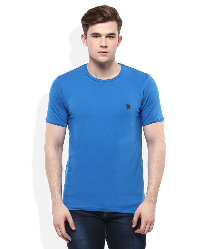 Cloak& Decker By Monte Carlo Blue Round Neck Solid