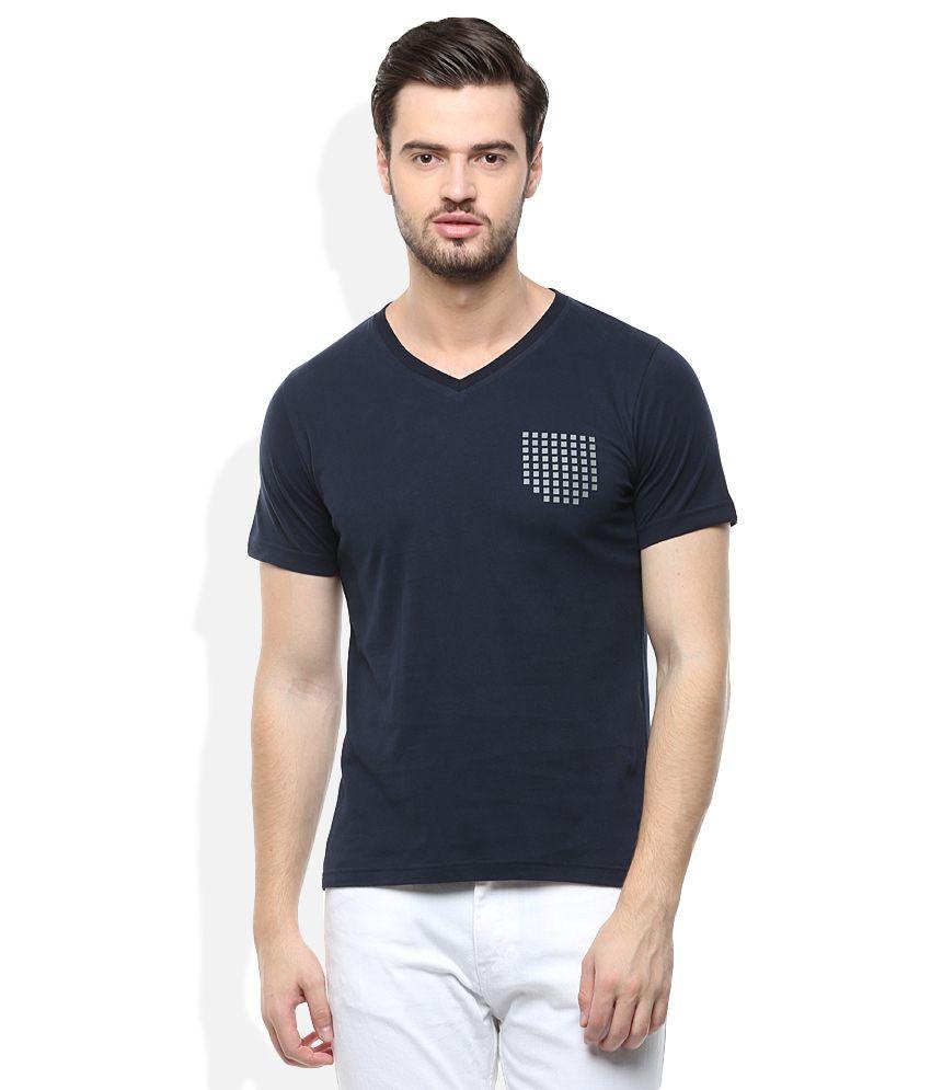 Monte Carlo Navy V-Neck Solids T-Shirt