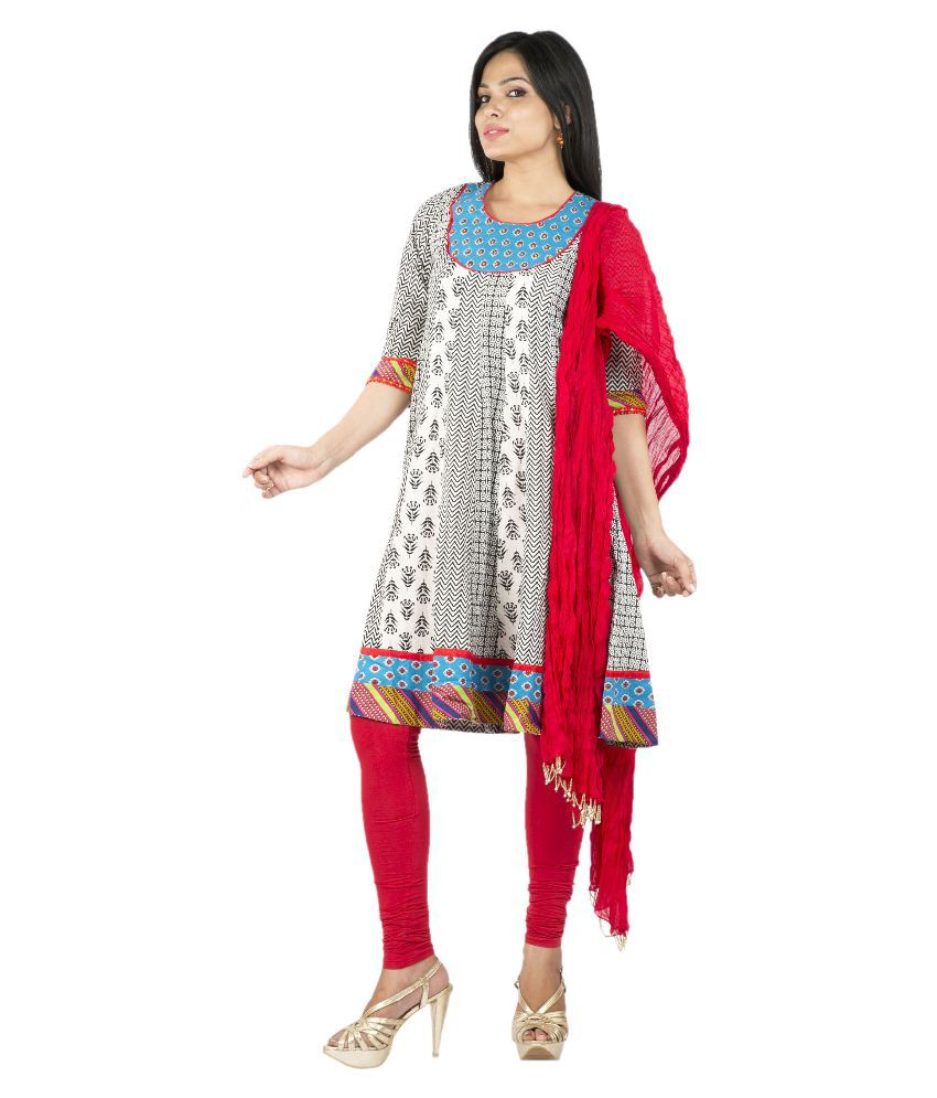 Rama Multicoloured Cotton A-line Stitched Salwar Suit