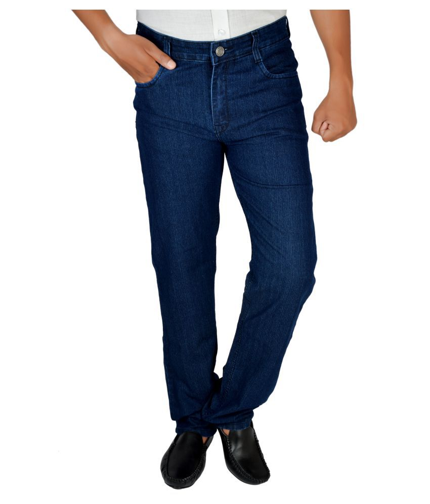 Allen Martin Navy Regular Fit Solid Jeans