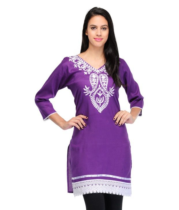 Dee Gee Fashion Purple Poly Rayon Straight Kurti