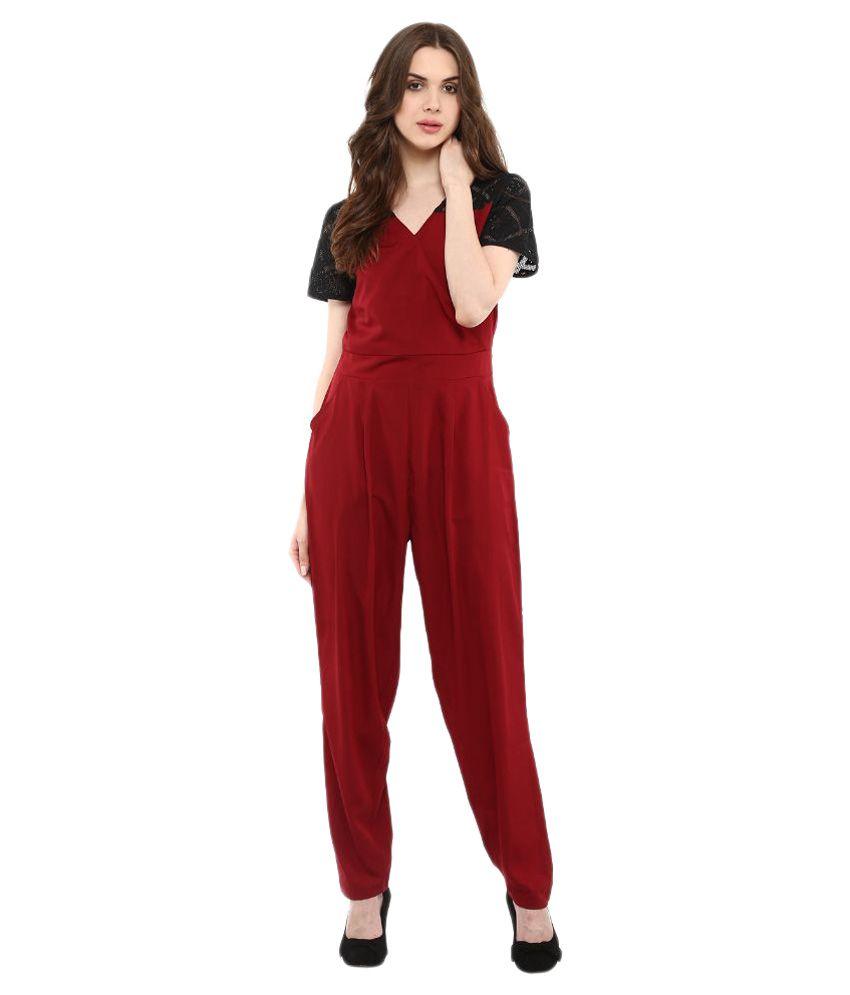 La Zoire Maroon Crepe Jumpsuits