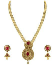 Zaveri Pearls Gold Non-Precious Metal Pendant Necklace With Jhumki Earring For Women - ZPFK4409