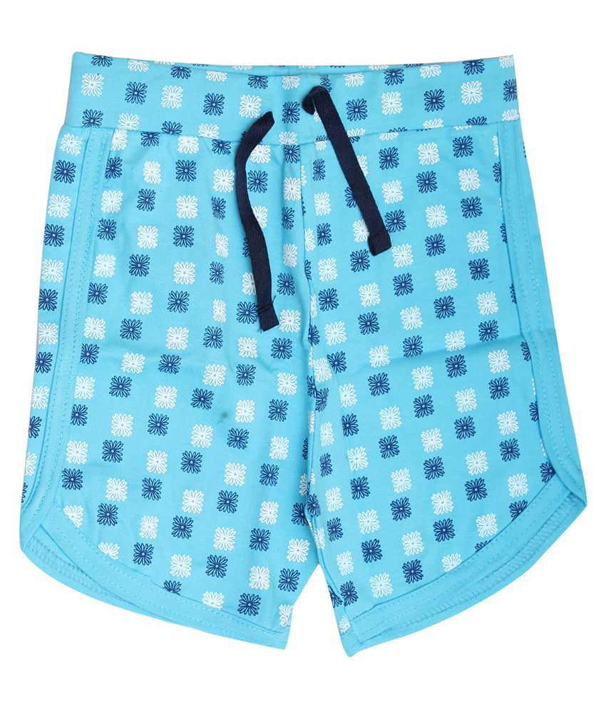 Babeezworld Blue Cotton Shorts For Girls