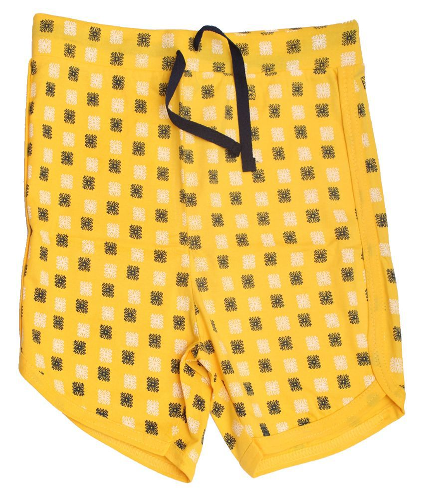Babeezworld Yellow Cotton Shorts For Girls