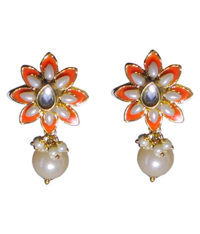 Charvee Alloy Pearls Studded Orange Coloured Earrings