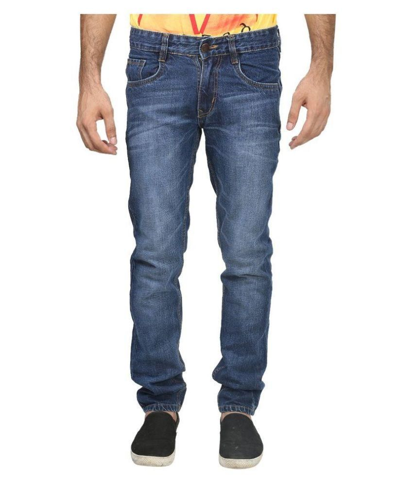 Dtusk Blue Regular Fit Solid Jeans