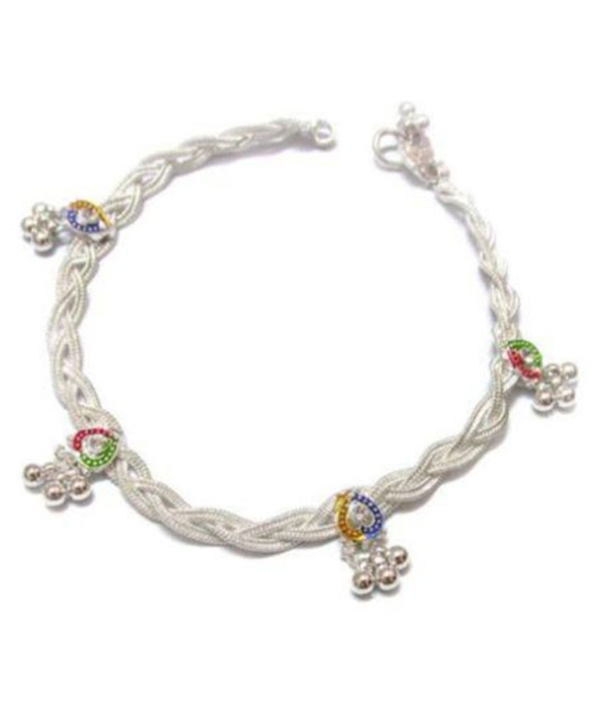 J S Imitation Brass Silver Plating Studded White Coloured Pair Of Anklets