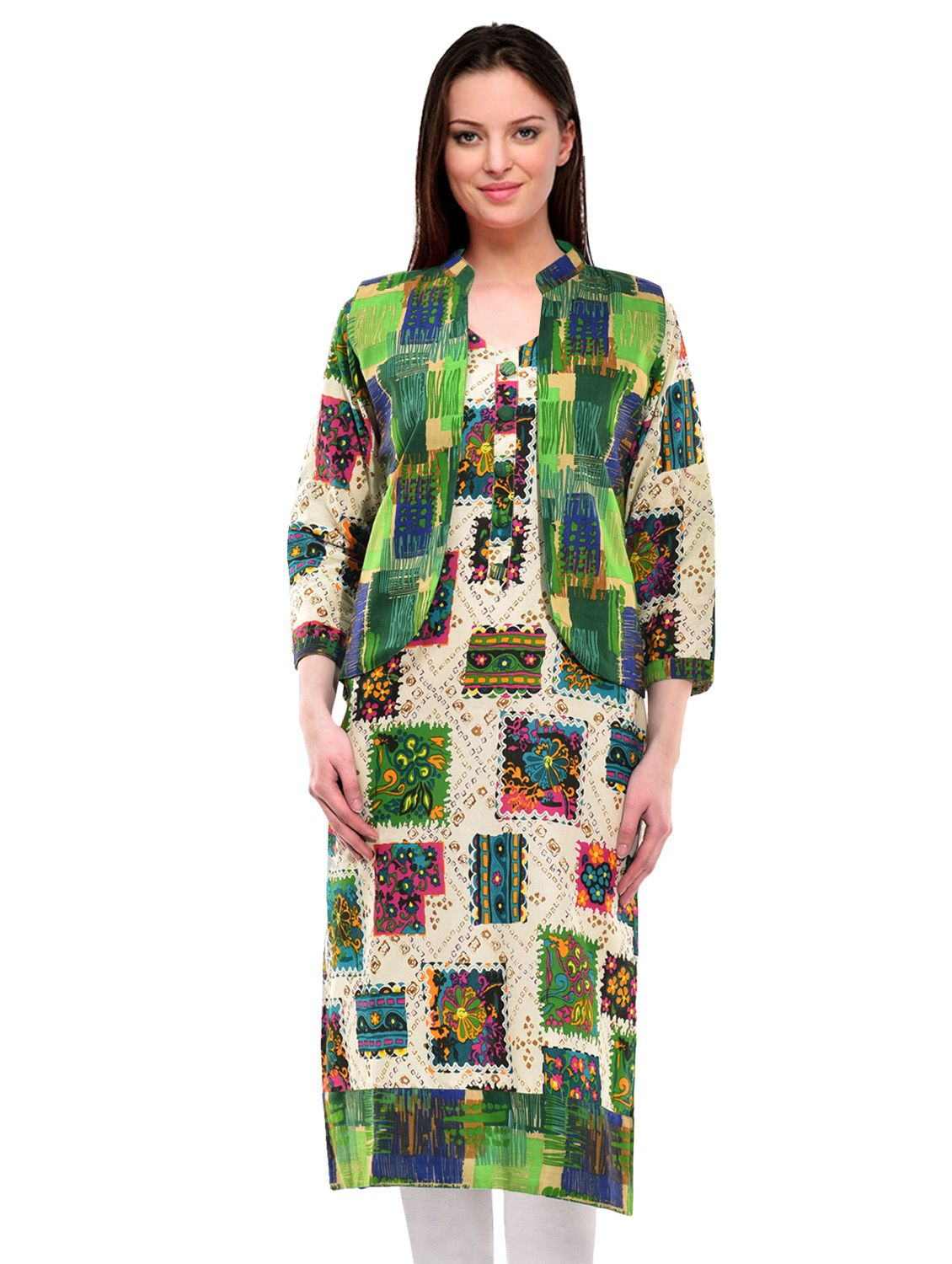 Aadhunik Libaas Multicoloured Cotton Straight Kurti