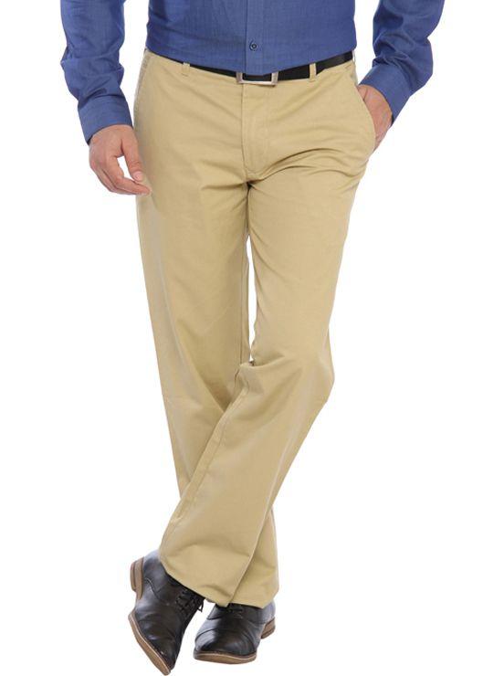 ColorPlus Beige Slim Fit Flat Trousers