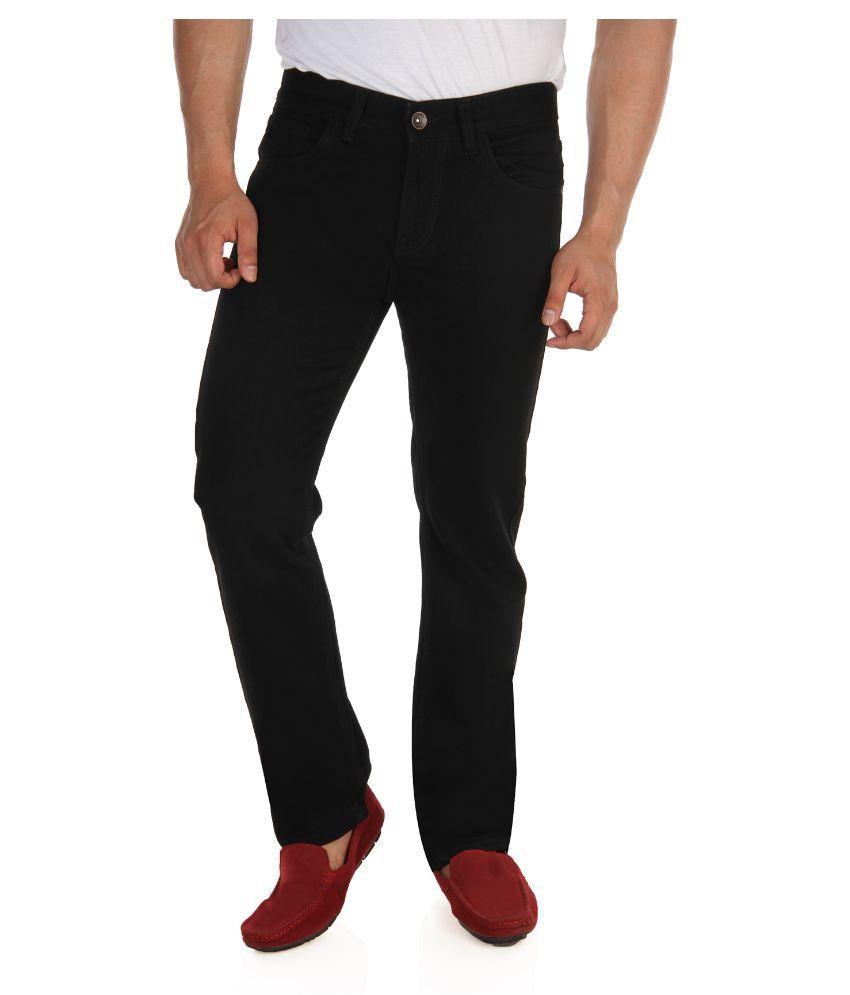 Fever Black Regular Fit Washed Jeans