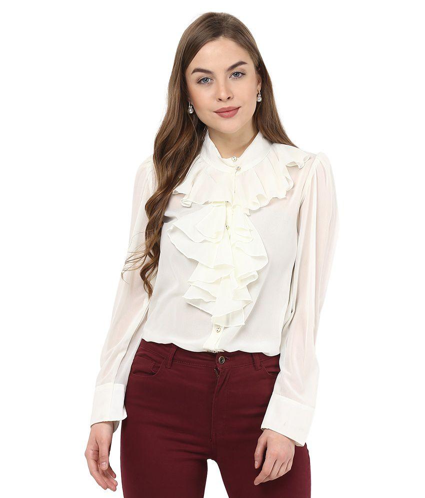 La Zoire Off White Poly Georgette Shirts