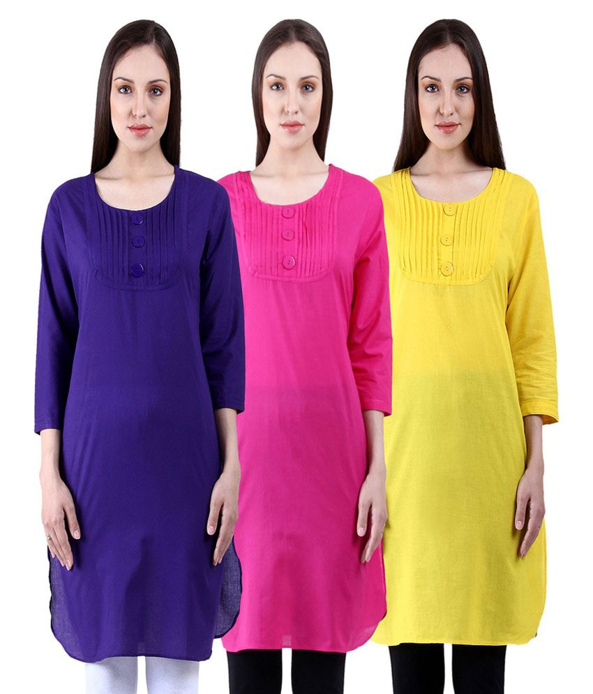 NumBrave Multicoloured Cotton Straight Kurti