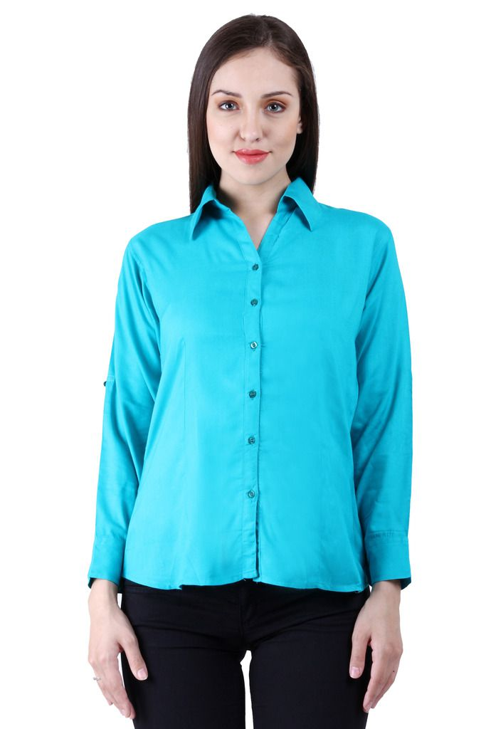 Numbrave Blue Viscose Shirts