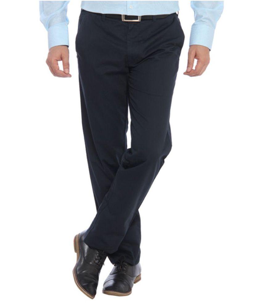 ColorPlus Navy Regular Fit Flat Trousers