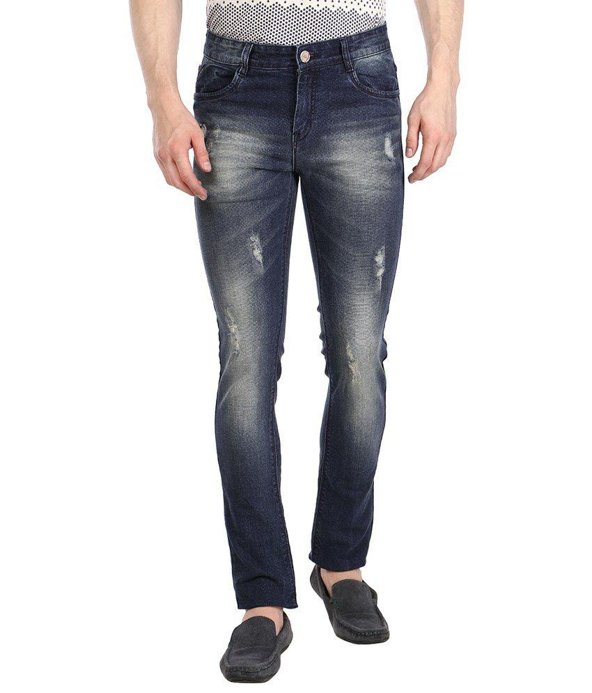 Fever Blue Slim Fit Distressed Jeans