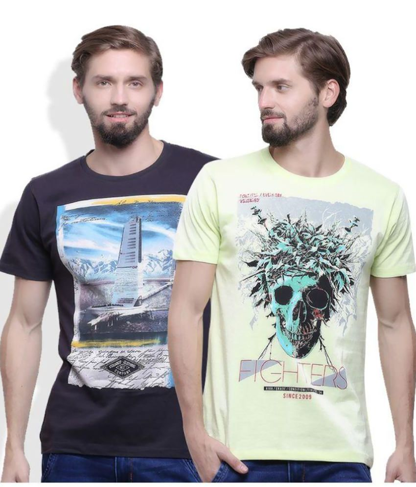 Go India Store Multi Round T Shirt Pack of 2