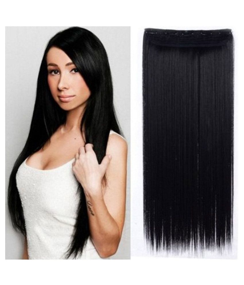 Out Of Box Straight Synthetic Hair Extension Natural Black 24 In