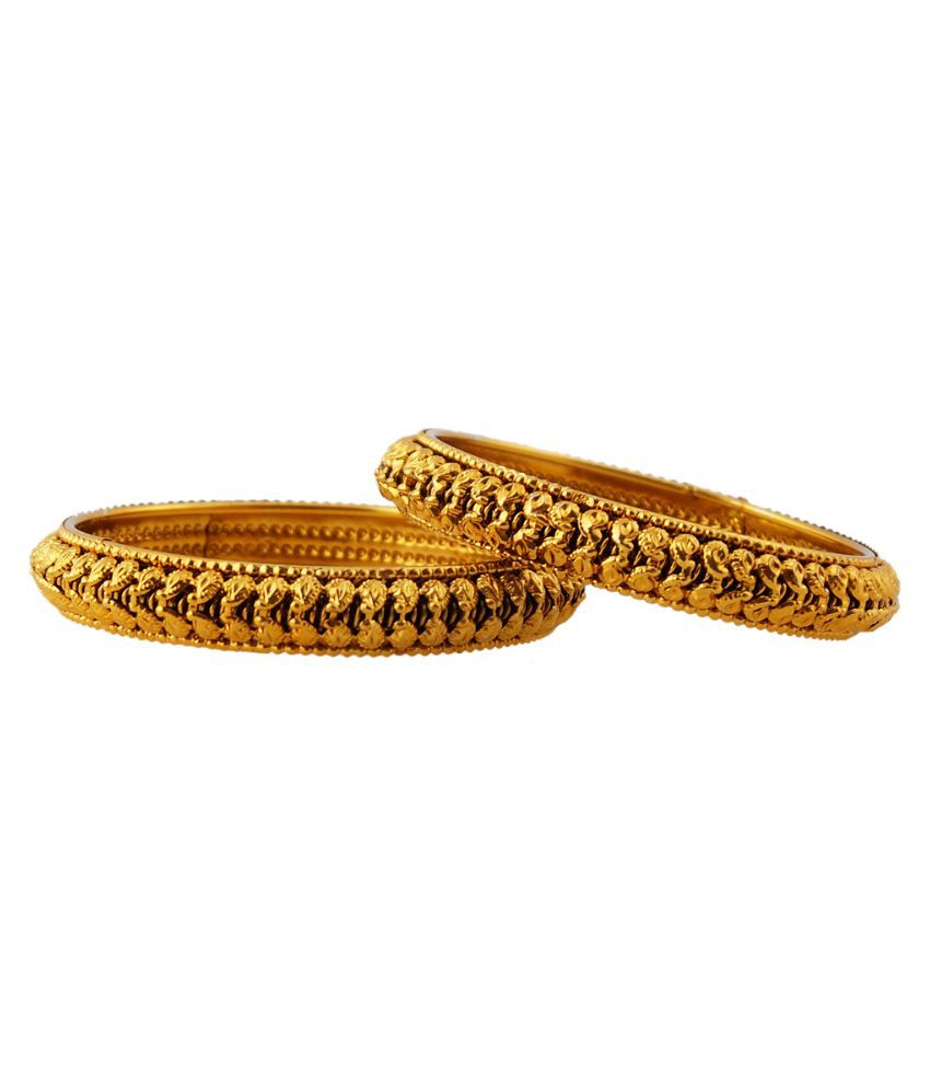 Jewels and Deals Alloy Gold Plating Studded Gold Coloured Kada