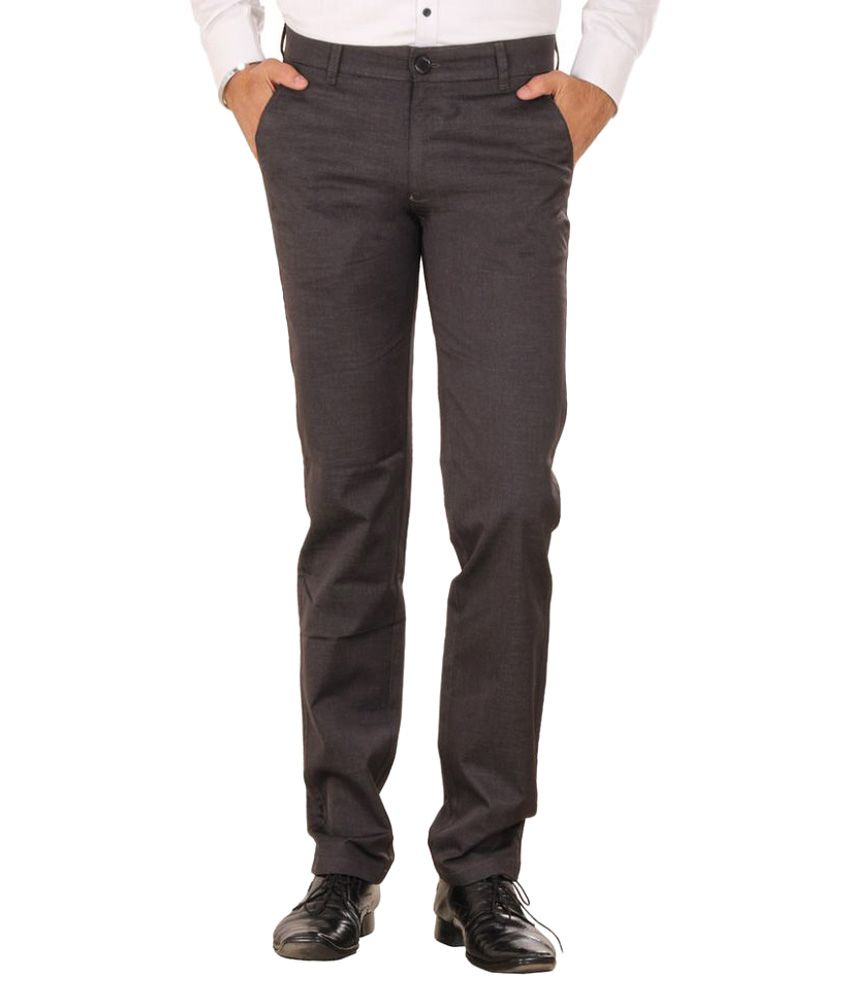 Mark-8 Brown Regular Fit Flat Trousers