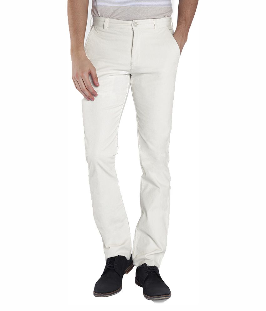 Parx White Slim Fit Flat Trousers