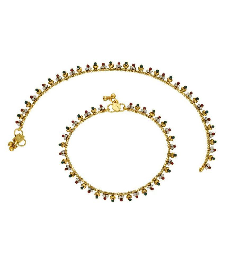 Vama Fashions Alloy Gold Plating Cubiz Zirconia Studded Gold Coloured Pair Of Anklets
