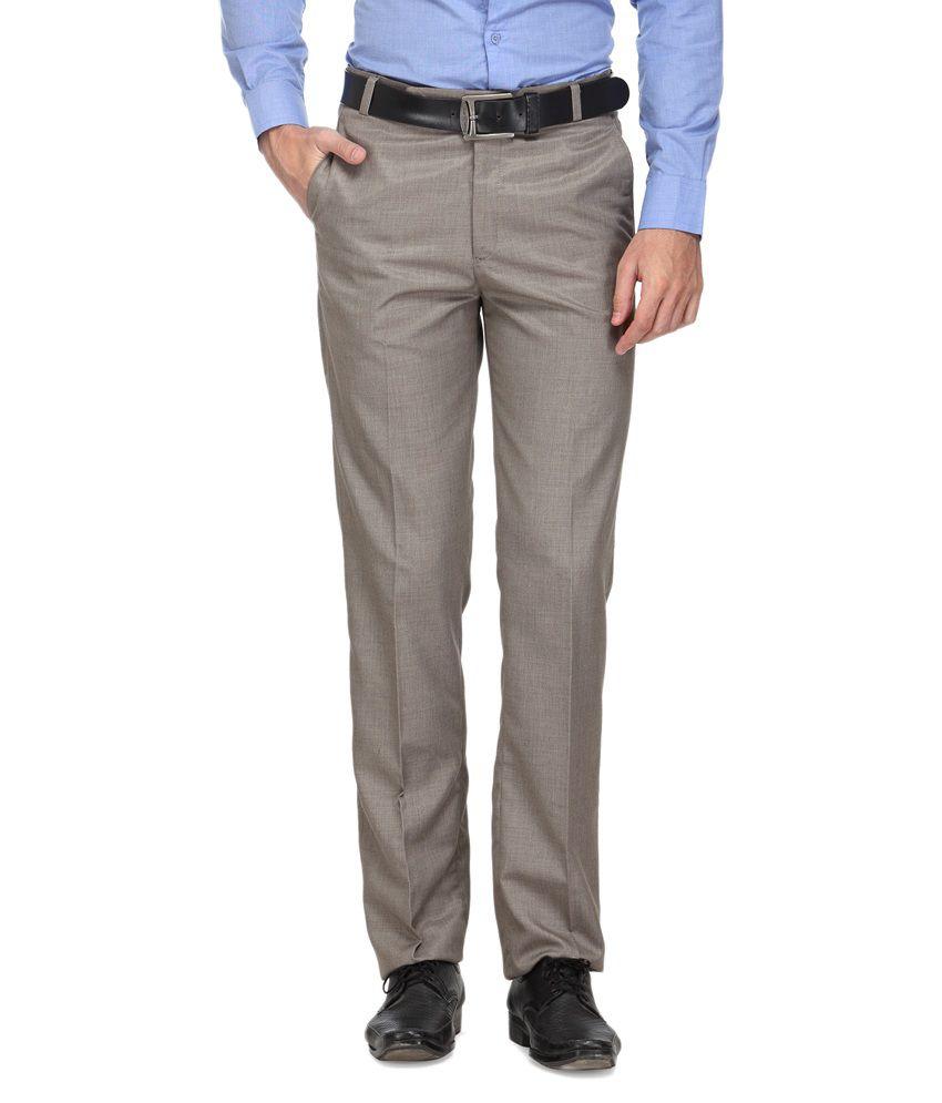 Ausy Beige Slim Fit Flat Trousers