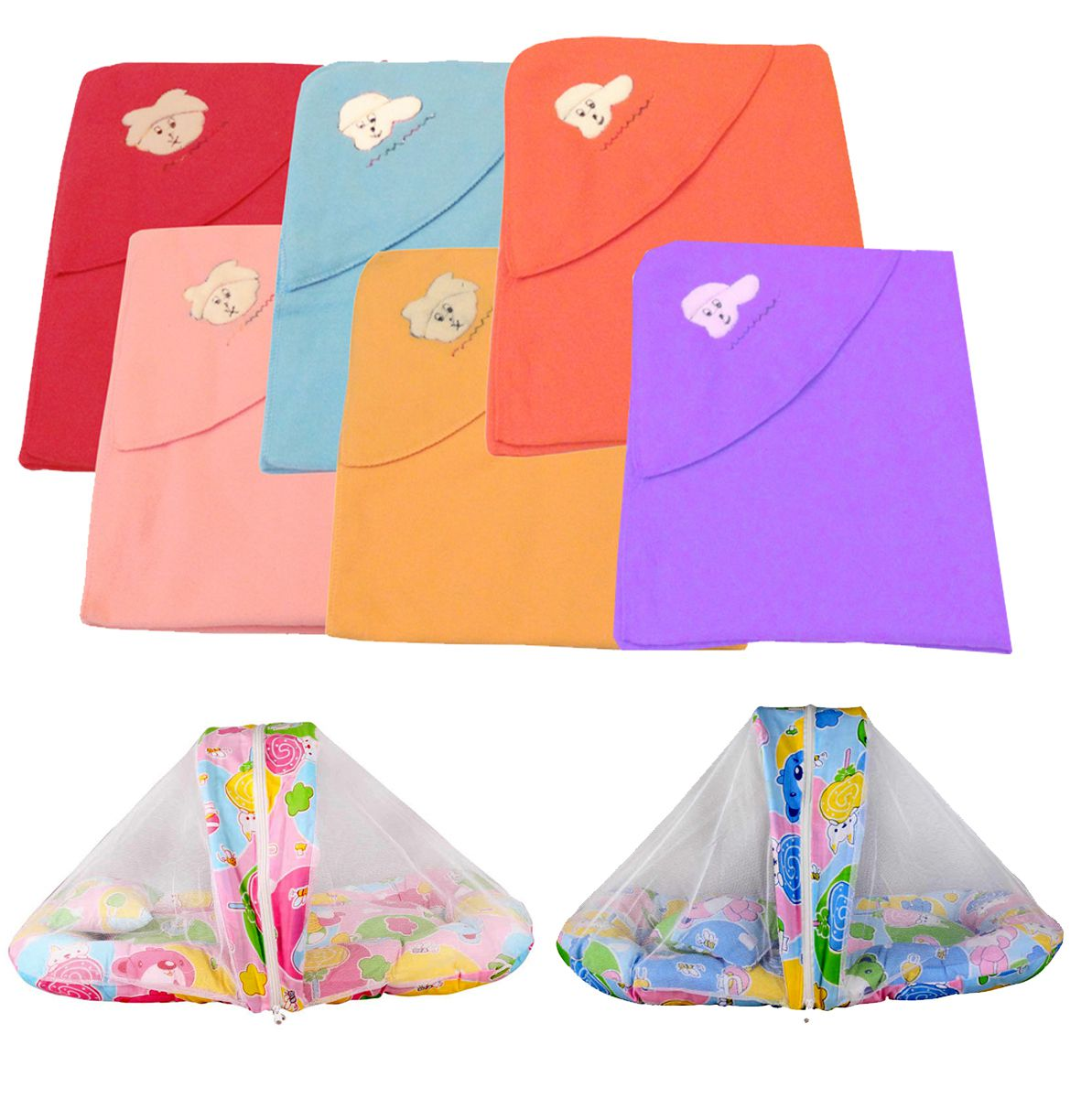 Big Bear Multicolour Six Baby Blankets with Two Baby Beds with Mosquito Nets Baby Blanket/Baby Swaddle/Baby Sleeping Bag